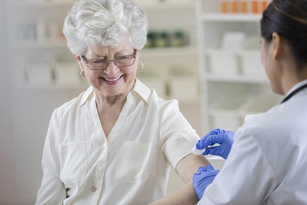 Patient receiving a vaccination